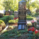 Familiengrabstätte mit Säulengrabstein auf einem Friedhof.
