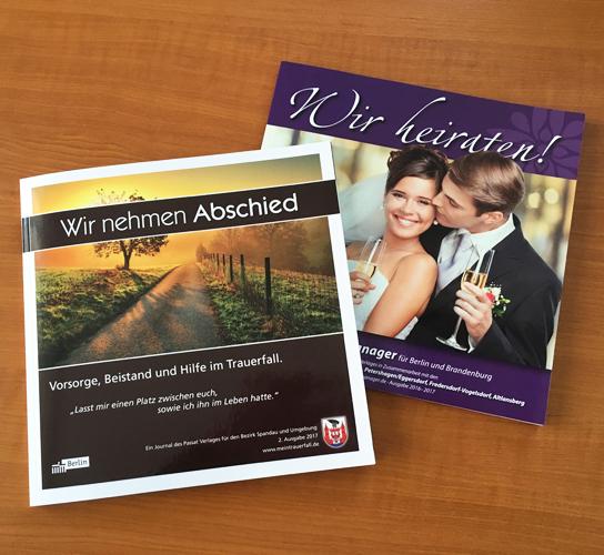 """Titel der Broschüren """"Wir nehmen Abschied"""" und """"Wir heiraten"""" vom Passat Verlag"""