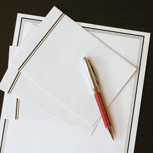 Beileidschreiben auf speziellem Papier mit schwarzem Trauerrand.